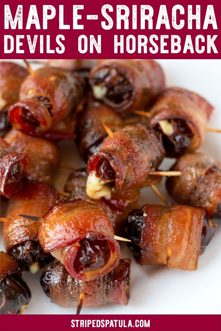 Maple Sriracha Devils on Horseback Attention bacon and cheese lovers! These Maple Sriracha Devils o