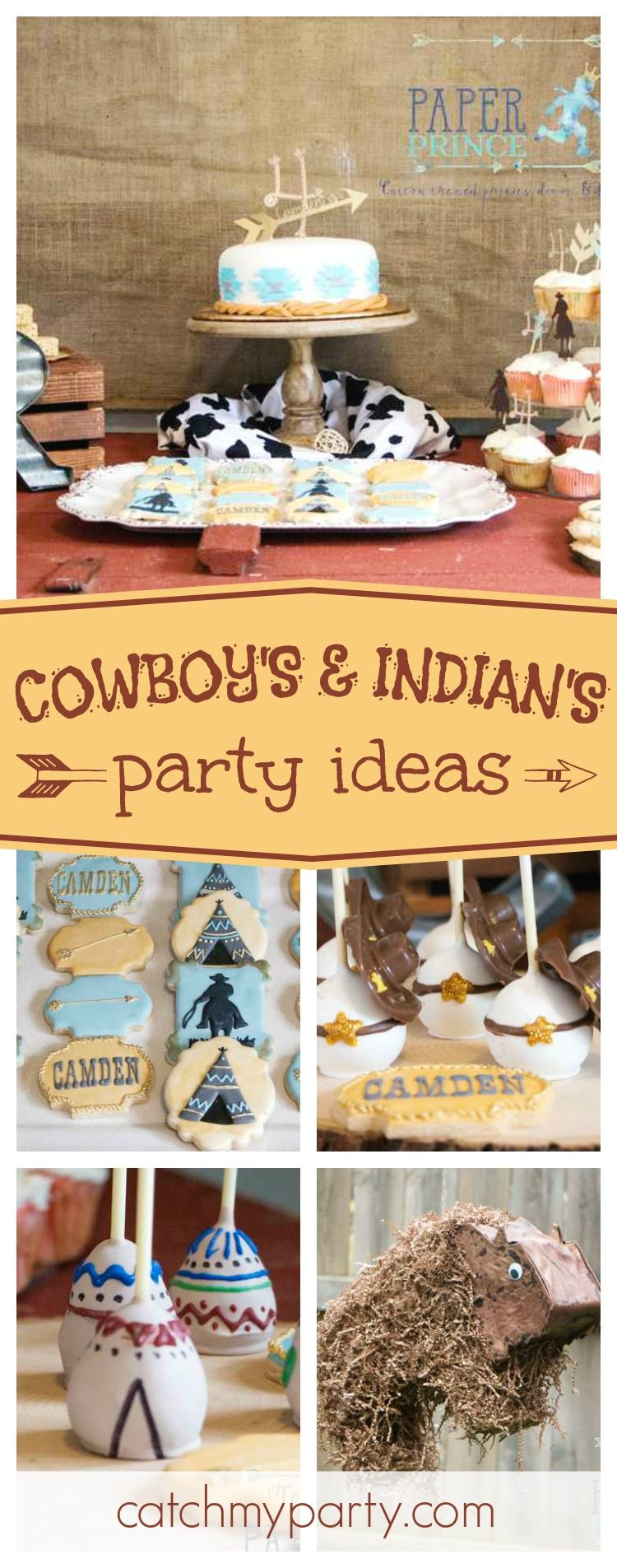 Check out this awesome Cowboys and Indians birthday party. The teepee cake pops are adorable!! See more party ideas and share yours at CatchMyParty.com