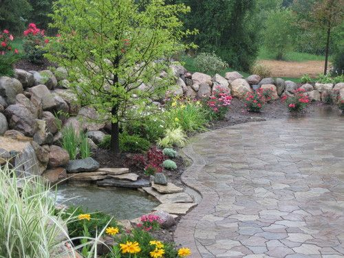 Water Fall And Pond Flagstone Paver Contemporary Patio