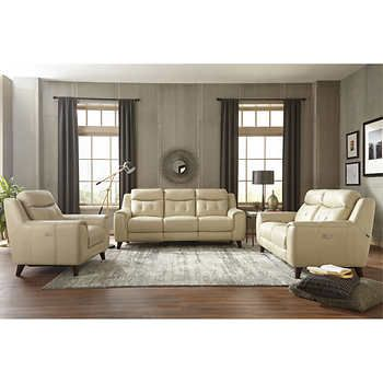 Pleasant Campania 3 Piece Top Grain Leather Power Reclining Set With Pabps2019 Chair Design Images Pabps2019Com