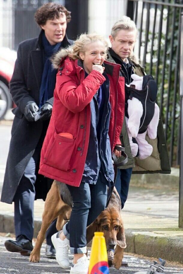 Benedict Cumberbatch, Martin Freeman and Amanda Abbington ...