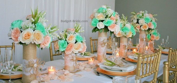 Mint Green And Peach Wedding Flower Reception Decor Centerpieces Silk Flowers Wedding Fresh Wedding Bouquets Peach Wedding Flowers
