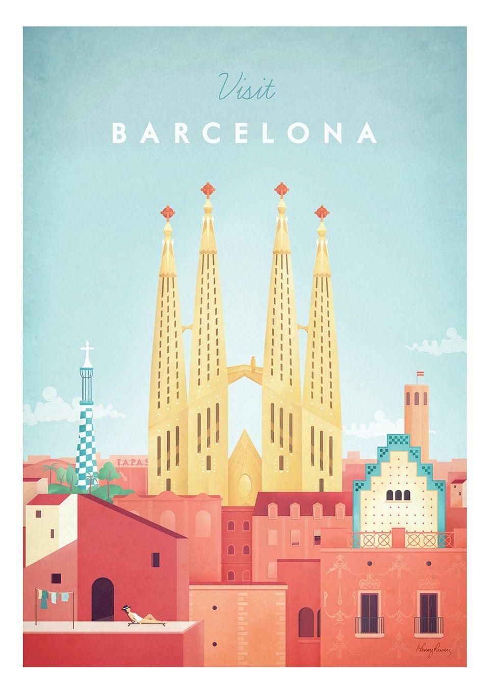 Sagrada Familia Barcelona Spanien Sagrada Familia Barcelona Spain Basilica I Temp With Images Barcelona Travel Poster Travel Posters Retro Travel Poster
