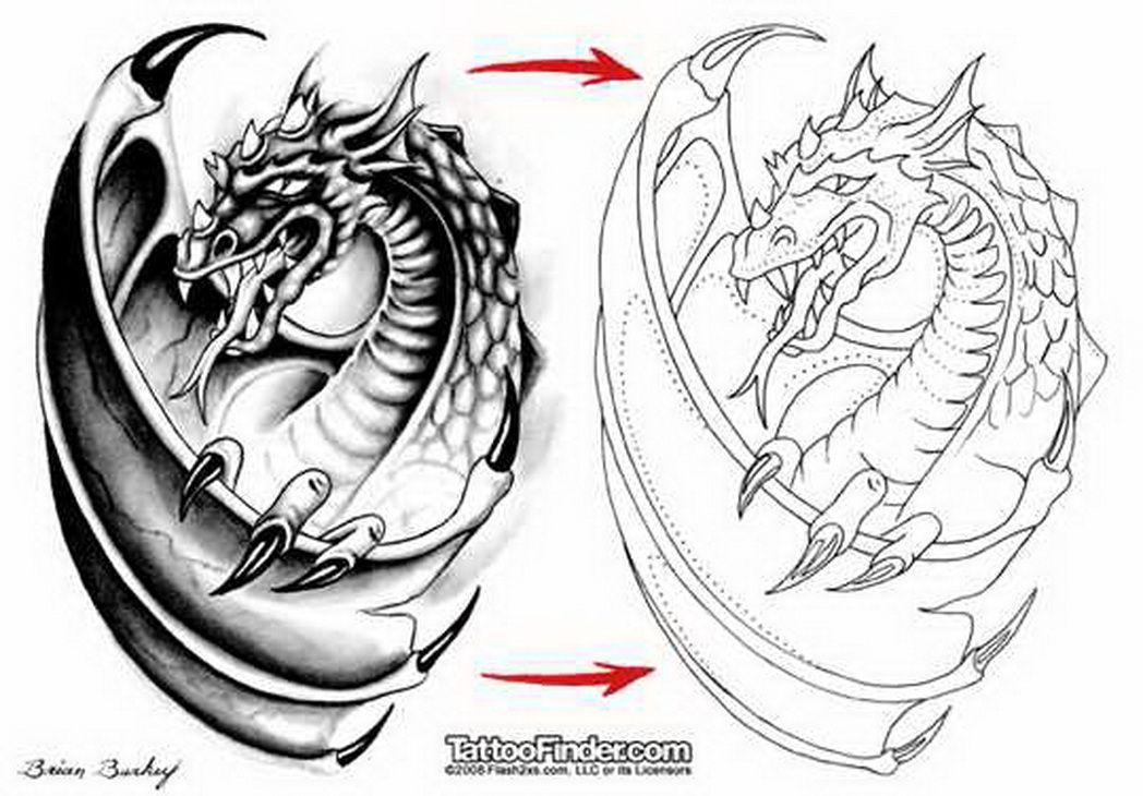 Tatuajes Ideas Diseños dragón-tatuaje-diseño-plantilla-brian-burkey-5441017 «top tatuajes