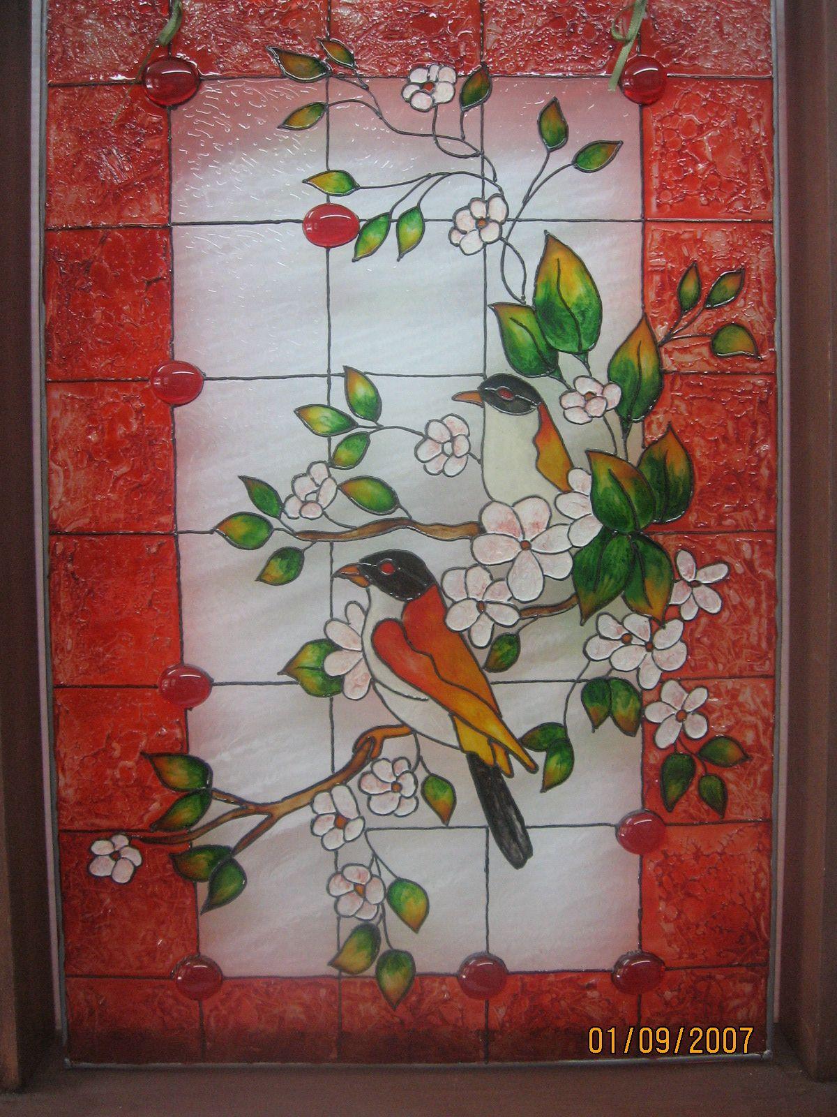Faux vitrail patrons gratuits recherche google vitrail - Peinture sur plateau en verre ...