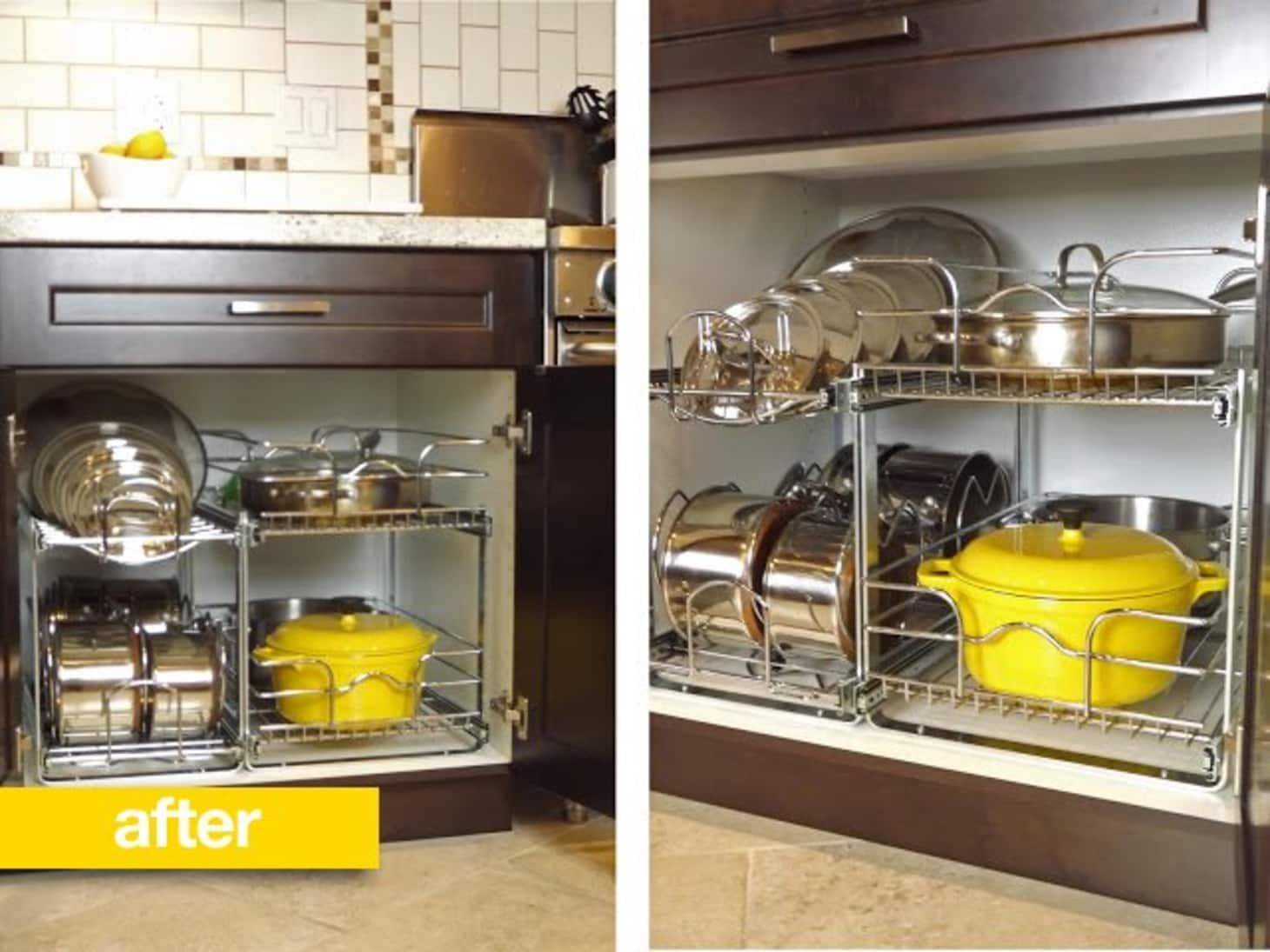 before after a better way to organize pots and pans in the cupboard kitchen cabinet on kitchen organization cabinet id=51218