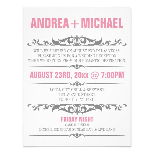 Pink \ Gray Wedding Reception ONLY Invitations Of, Receptions and Gray - invitation wording for elopement party