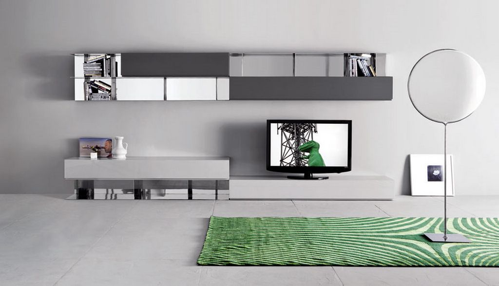 Modern Living Room Wall Mounted Cabinet And TV Stand Sistema People By Pianca