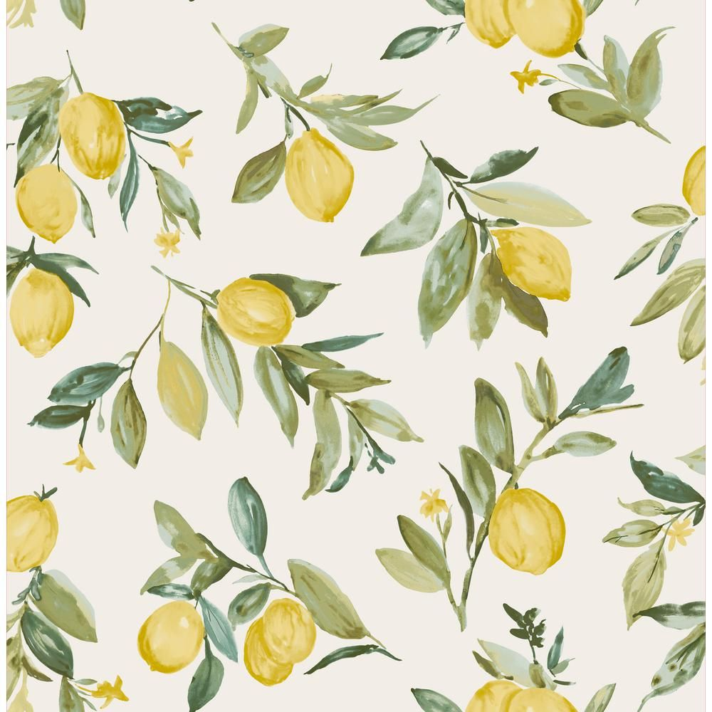 Mystyle Zest Peel And Stick Strippable Wallpaper Covers 28 2 Sq Ft Ms3940hd The Home Depot Fruit Wallpaper Yellow Wallpaper Brewster Wallpaper