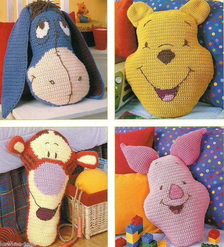Disney Pooh Friends Pillow Fun Crochet Pattern Booklet Rare