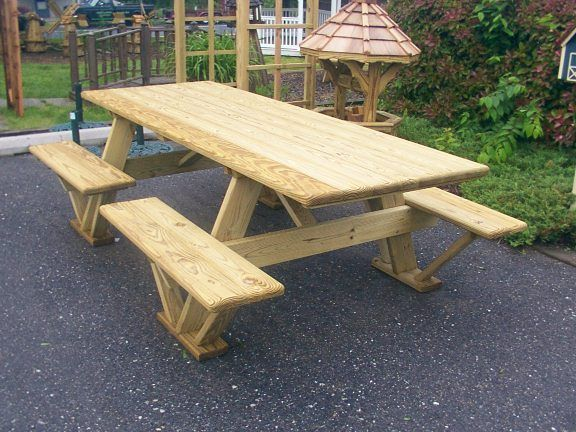 Amazing Wooden Picnic Table With 4 Benches