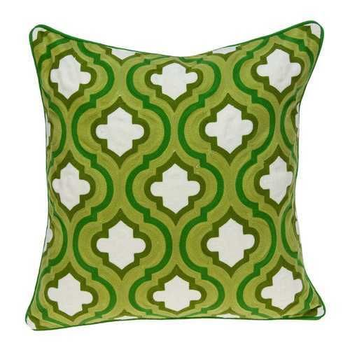Photo of 20″ x 7″ x 20″ Traditional Green and White Pillow Cover With Down Insert