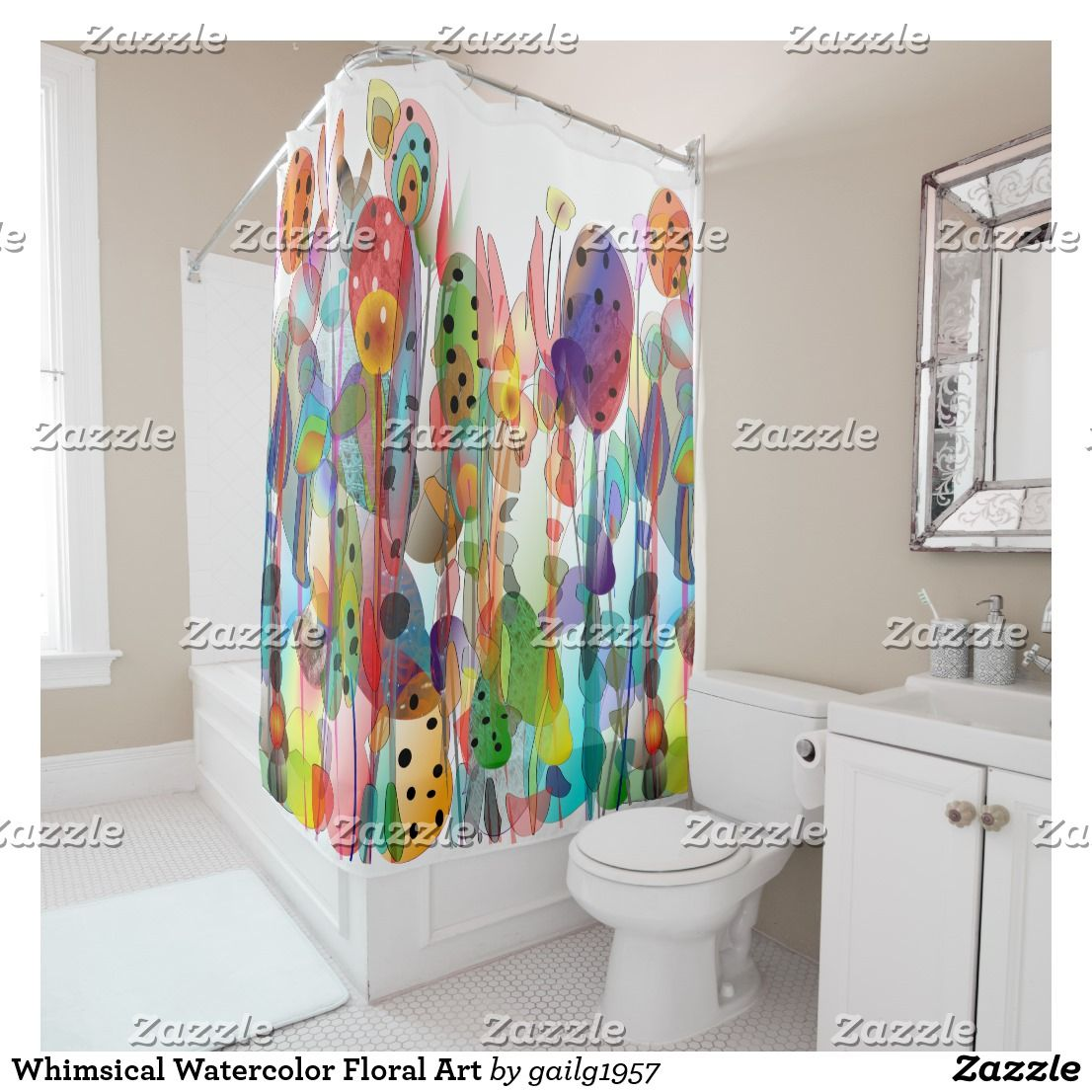 Whimsical Watercolor Floral Art Shower Curtain Zazzle Com Floral Shower Curtains Floral Shower Custom Shower Curtains