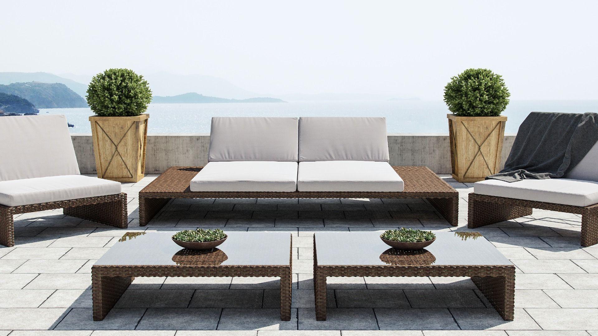 Estoria L   Outdoor lounge set, Rattan furniture set ...