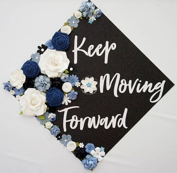 Keep Moving Forward Graduation Topper and Decoration. Flower and Glitter Graduat…