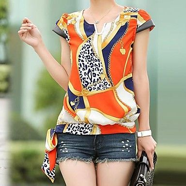 blusa de impressão, de manga curta v pescoço das mulheres – BRL R$ 34,24