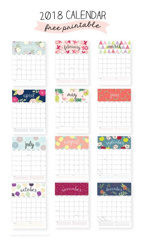 2018 Printable Calendar Things to print Pinterest Previous
