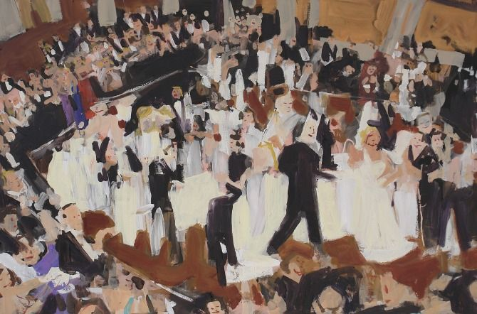 "Sarah Coote COTILLION WALTZ Oil on Panel // 24"" x 36"""