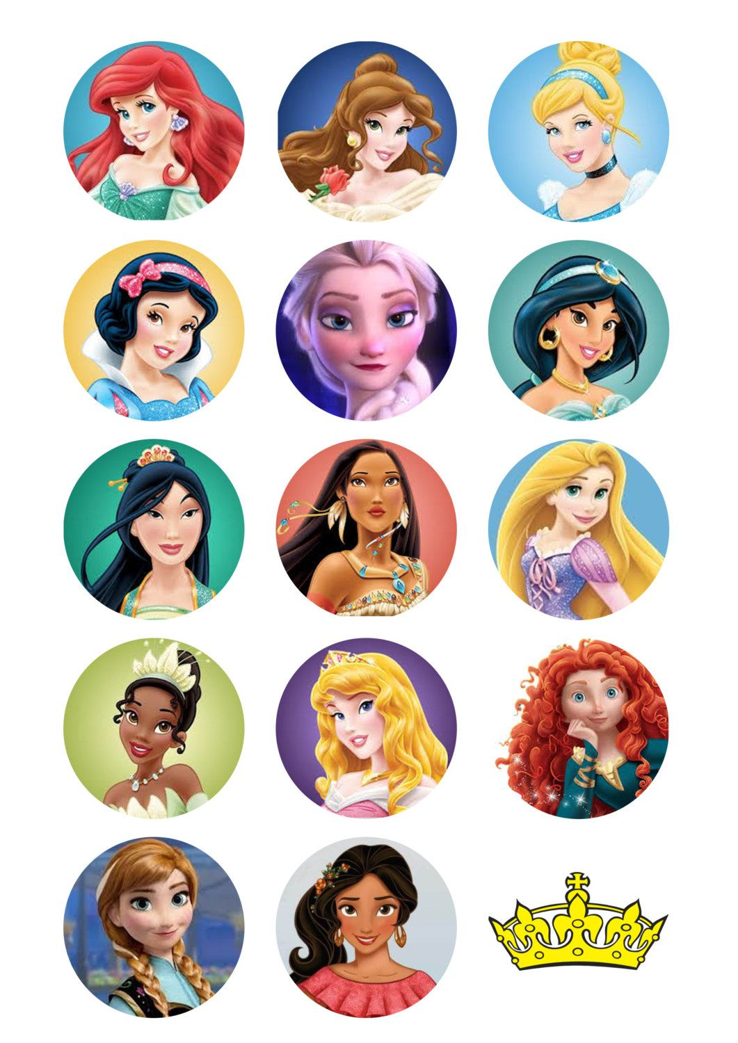 Princesses cupcake toppers favor tags stickers digital ...