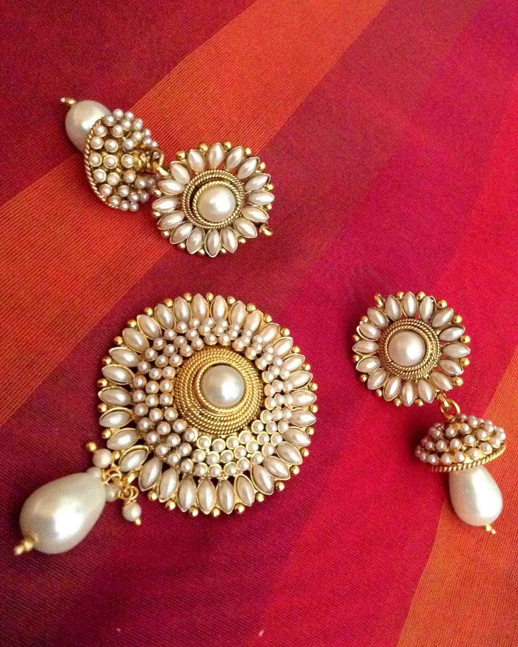 Buy elegant glowing pearl flower pendant set india adiva copper