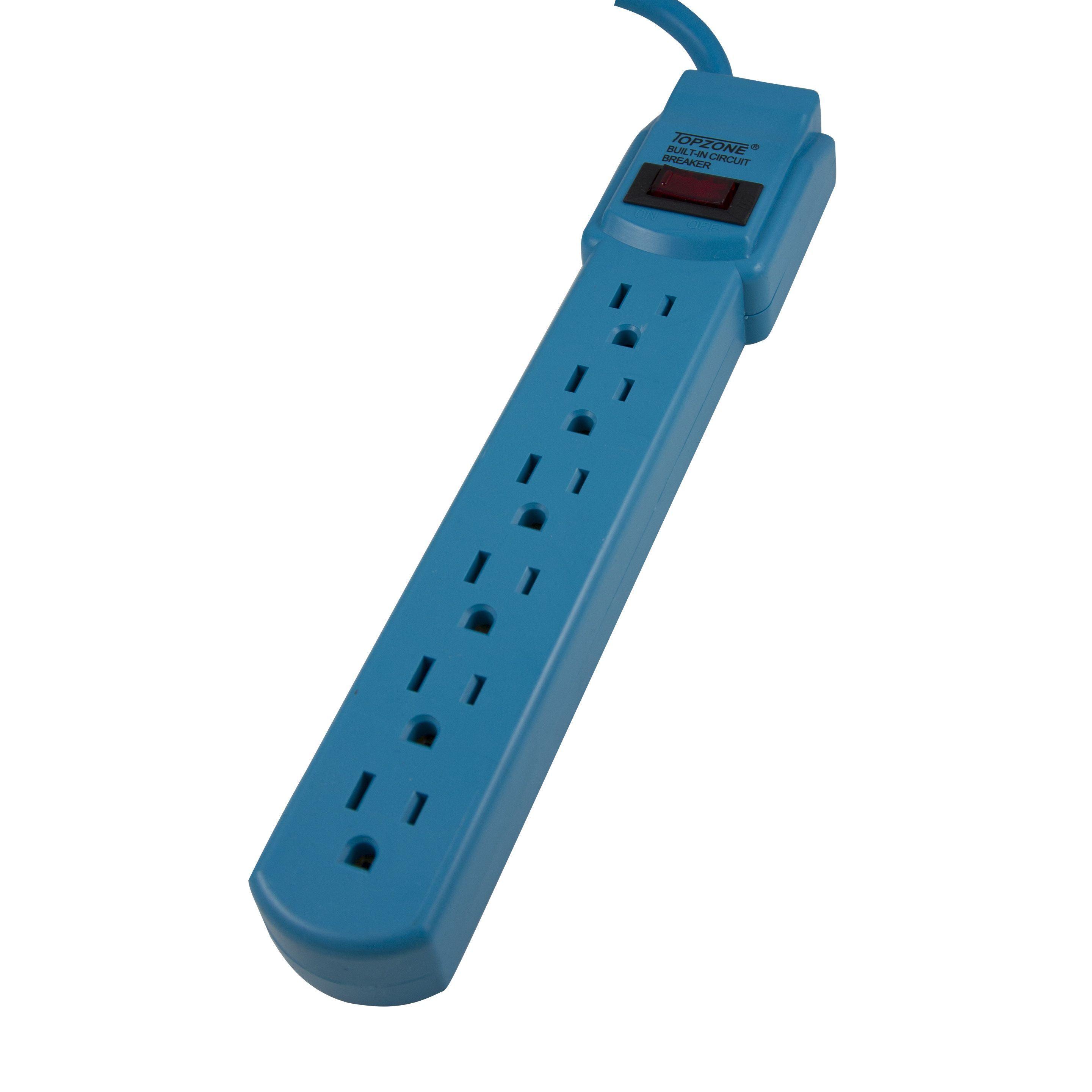 Topzone 15 Feet 6 Outlet Power Strip Circuit Breaker Beige To Schematic Blue