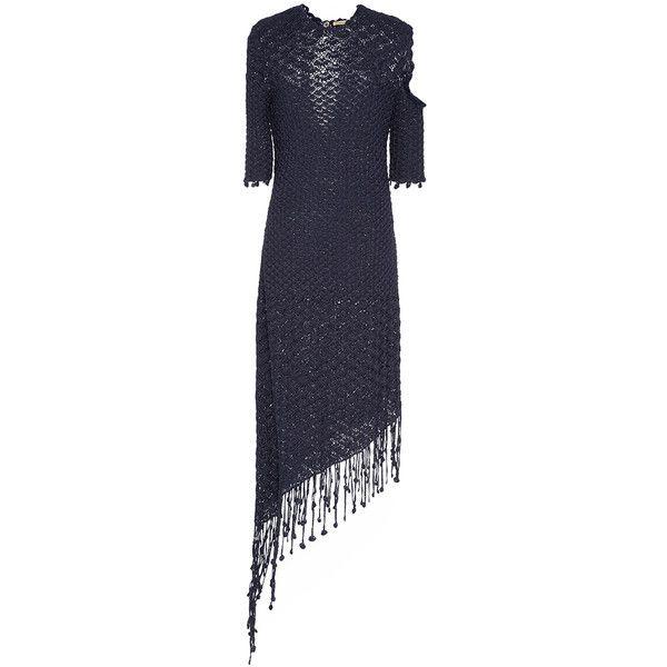 Hellessy Portofino Silk Scallop Motif Dress 96215 PHP Via Polyvore Featuring Dresses Navy