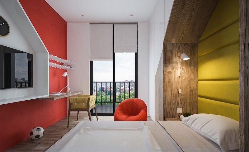 chambre d\u0027enfants blanche décorée de bois, peinture rouge et accents