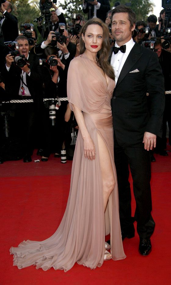 18625b4c84b1 Angelina Jolie Teams Her Nude Dress With A Statement Red Lip For Instant  Red Carpet Glamour At The Cannes Film Festival
