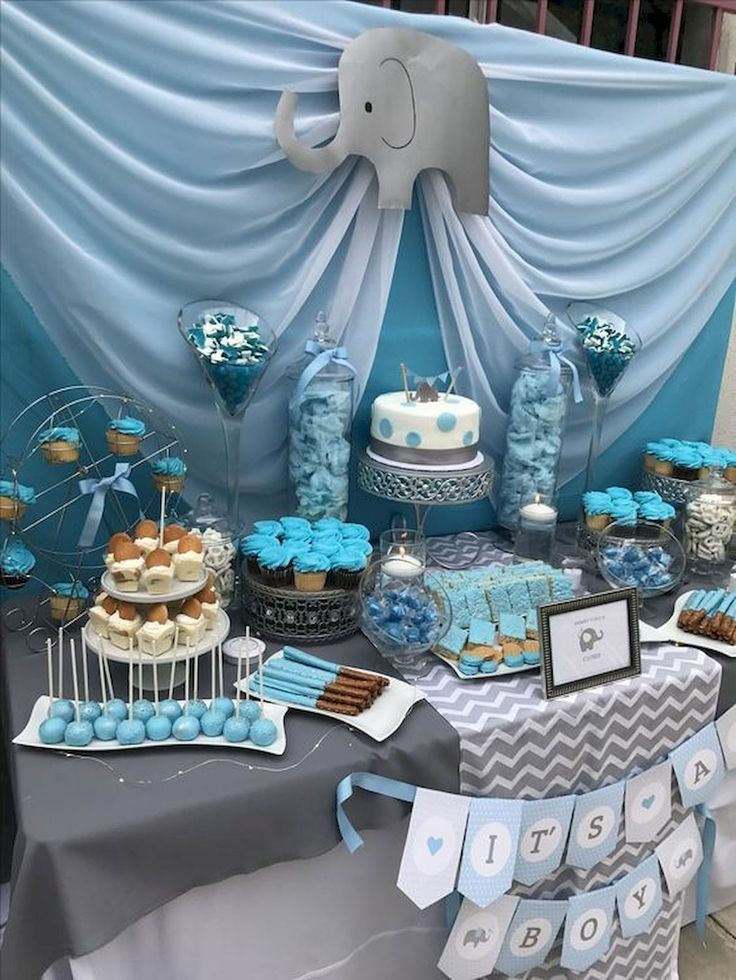 50 Awesome Baby Shower Themes And Decorating Ideas For Boy Awesome Baby Shower Dessert Table Baby Shower Table Centerpieces Elephant Baby Shower Decorations