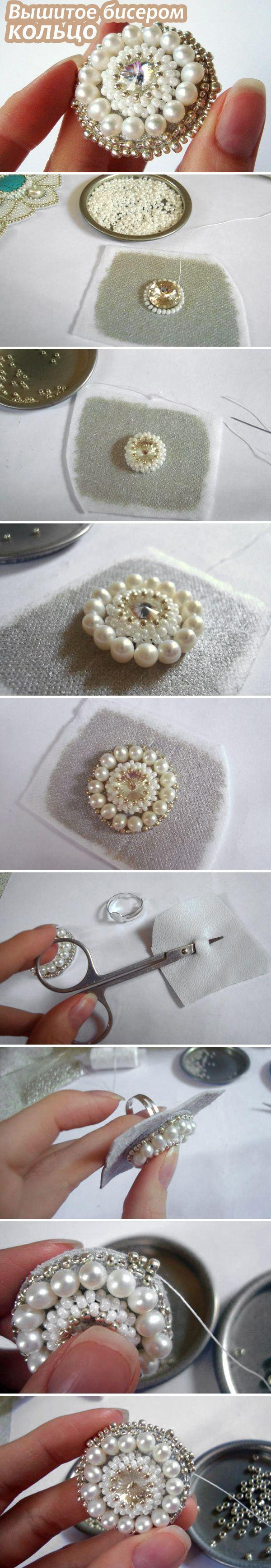 Мастер-класс: Вышитое бисером и жемчугом кольцо / Beaded Ring Tutorial #diy #bead #jewelry: