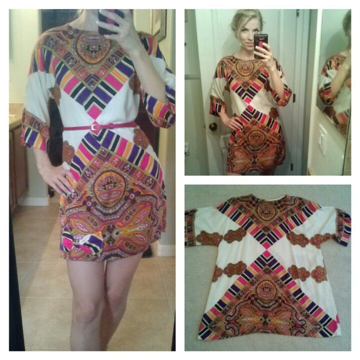Altering a thrift store large tunic into a cute shift dress