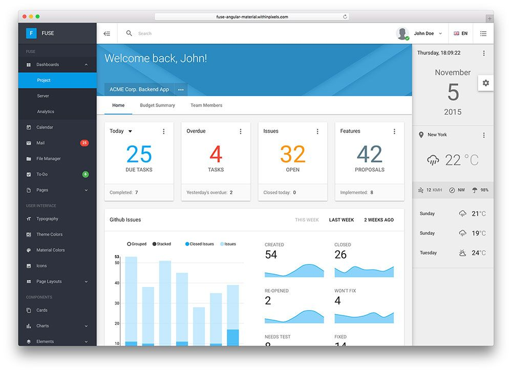 29 Best Material Design HTML5/CSS3 Admin Templates 2019