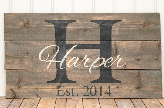 I'm thinking this personalized pallet sign would look amazing in an outdoor kitchen or on a mantel?  Etsy shop https://www.etsy.com/listing/261720086/family-established-pallet-sign-family