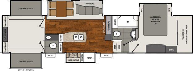 Brookstone Coachmen Rv Travel Trailer Floor Plans Bunk House Bunkhouse Travel Trailer
