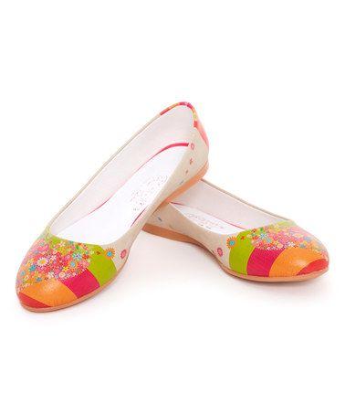 Love this Pink & Lime Green Stripe Ballet Flat on #zulily! #zulilyfinds@tonjaamen