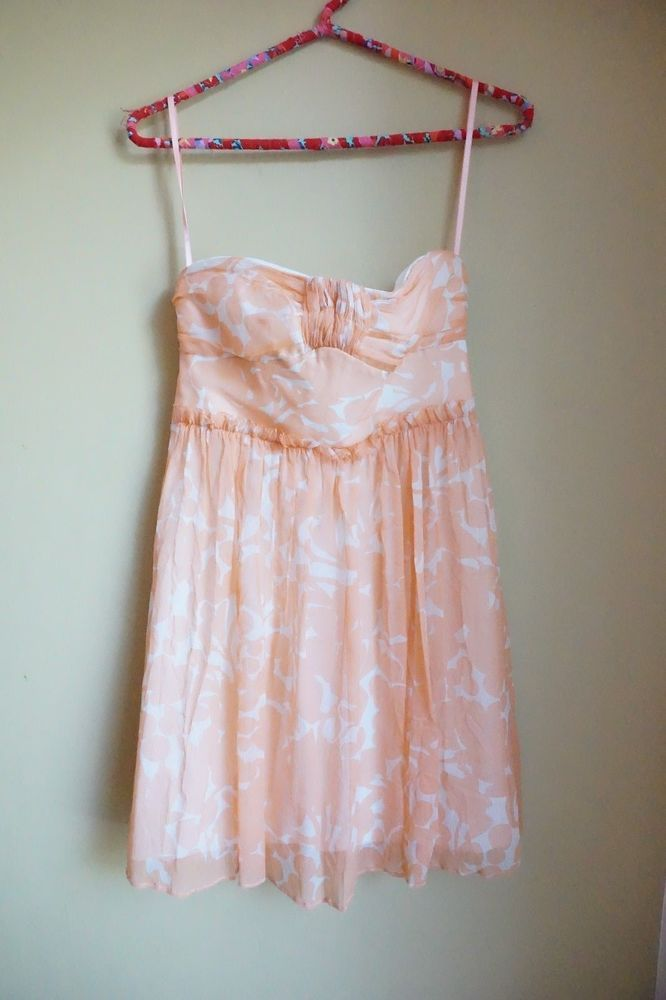J Crew Silk Chiffon Fl Whitney Short Dress Sweet Cantelope Pink Size 0 Jcrew
