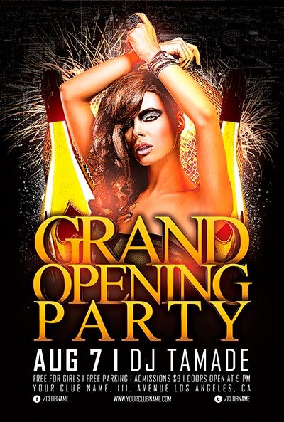 Free Grand Opening Party Flyer Template Vol2 flyers Pinterest - club flyer maker