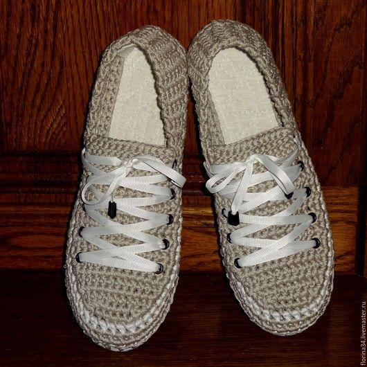 Обувь ручной работы. Ярмарка Мастеров - ручная работа. Купить Кеды вязаные, уличные, серые , р.38-39. Handmade.