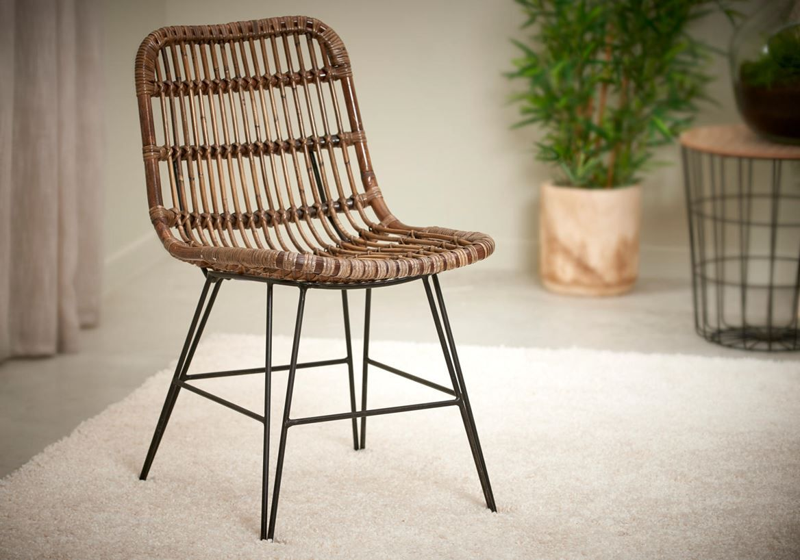 Sumatra Chaise Noir Brun H 83 X Larg 44 X P 55 Cm Fauteuil Osier Chaise Chaise Noire
