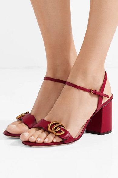 e346ebe303c1 Gucci - Marmont Logo-embellished Leather Sandals - Red