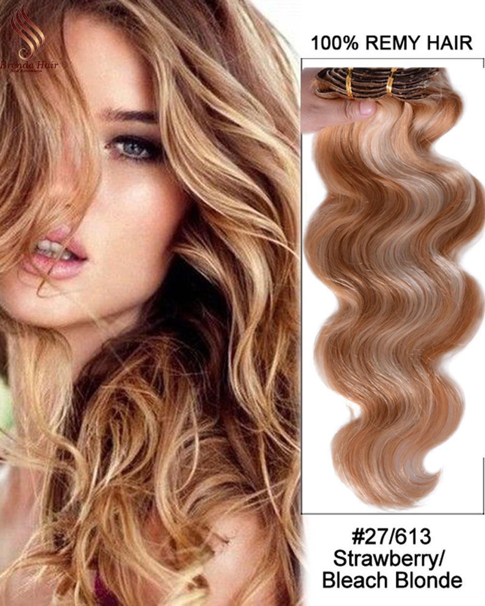 Golden Blonde 27 613 clip in hair extensions 120 Remy human hair extensions  for black women Brazilian virgin human hair Clip-Ins 1393f1d2bc