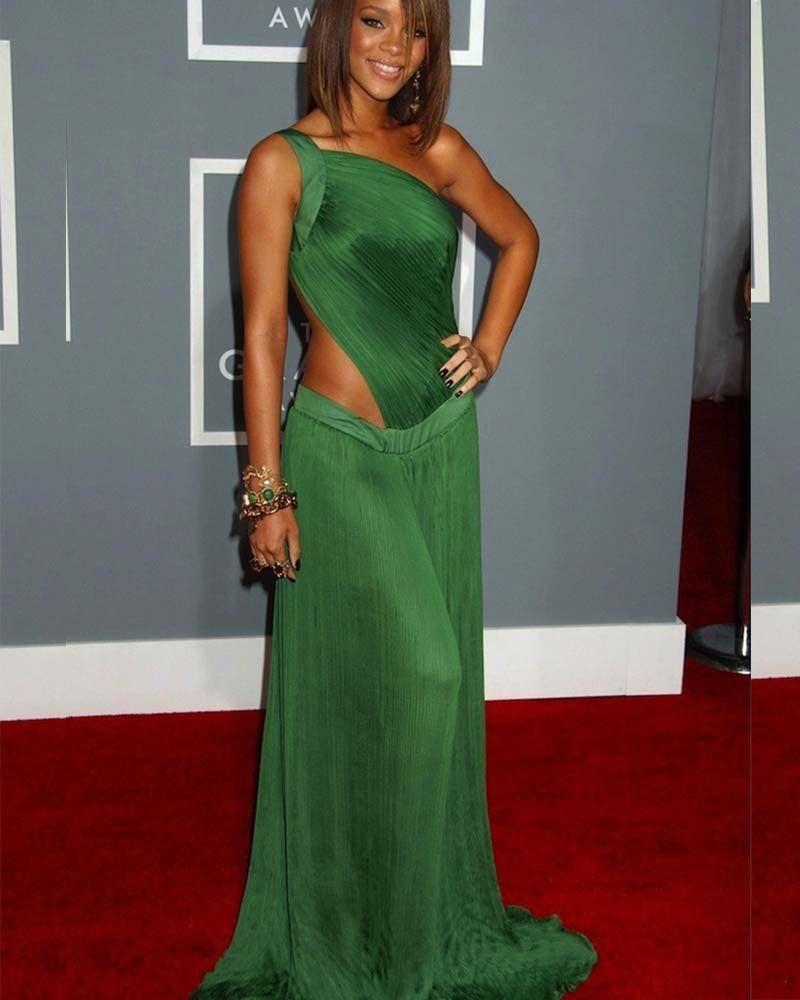 Sexy Rihanna Red Carpet Celebrity Dresses Chiffon Long Green Prom Dress One  Shoulder Open Back Evening d51816955