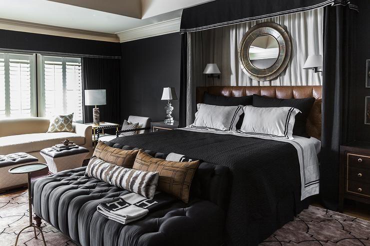 Black Bedroom With Curtains Behind Headboard Contemporary Bedroom Master Bedroom Design Beautiful Bedroom Designs Bedroom Color Schemes