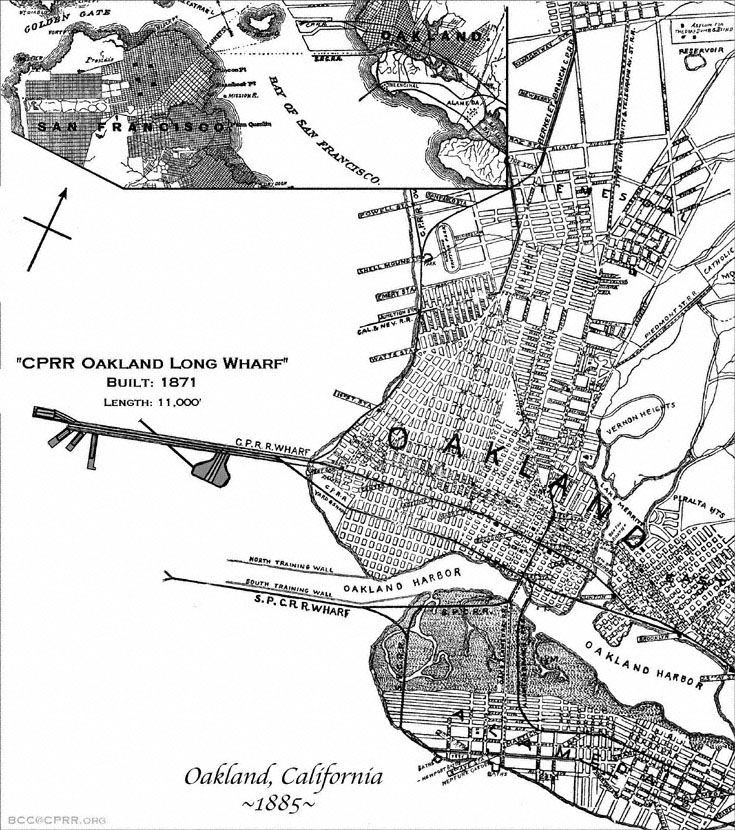 Map of Oakland California and the CPRR Long Wharf fromt the