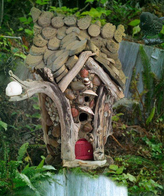 Moon Ring Fairy House - driftwood house with tree ring roof and shimmery white stone  #FairyHouse #Fae #upcycled #FairieHouse #dollhouse #moonhouse