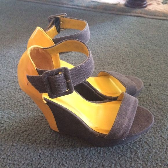 New!  grey suede and yellow patent leather wedges New without box from Shoe Dazzle. Fun for summer size 9 Shoe Dazzle Shoes Wedges