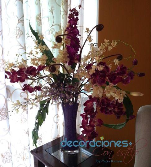Arreglo con orqu deas artificiales flores naturales y - Arreglo de flores naturales ...