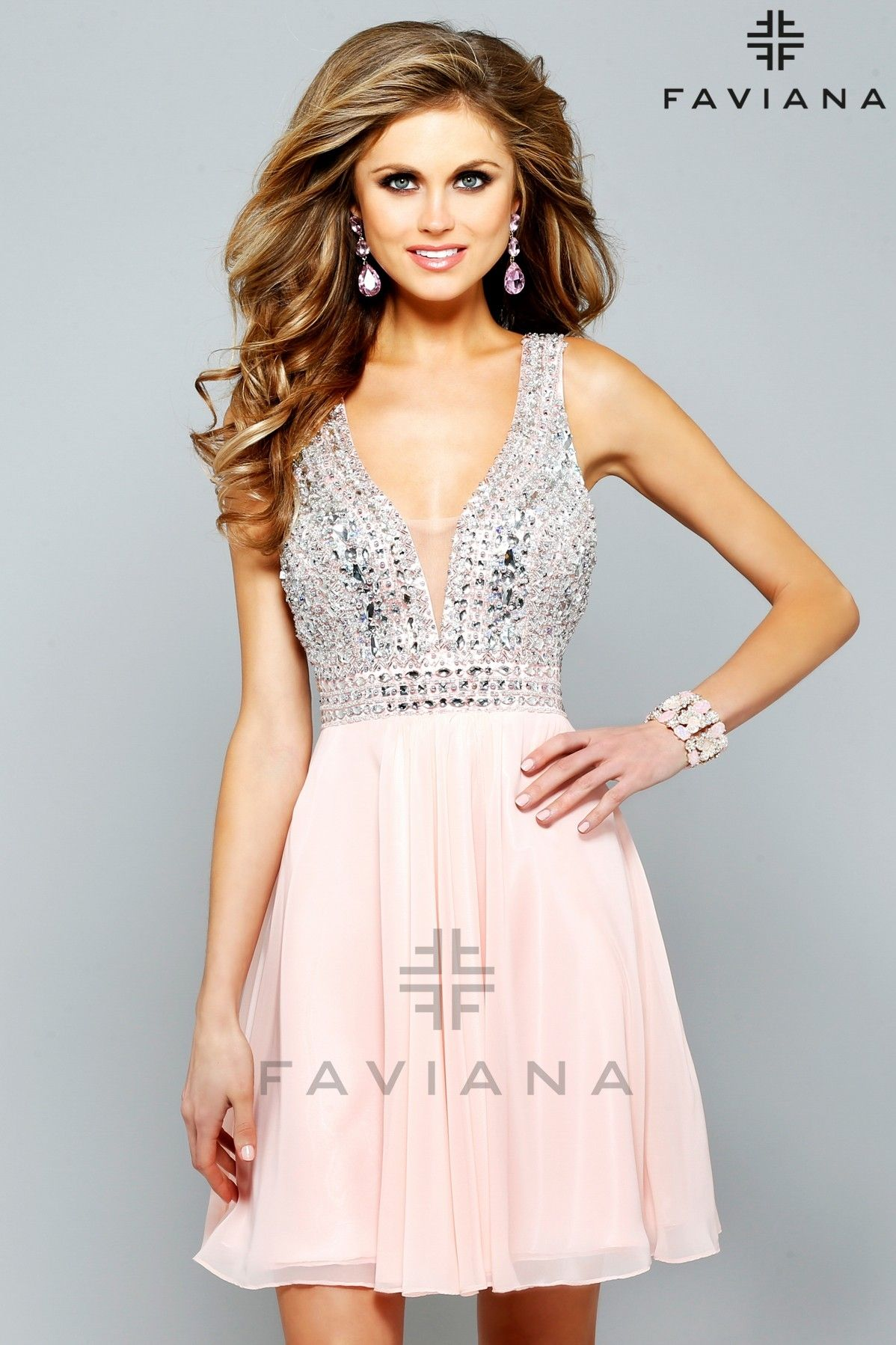 Faviana S7670 Soft Peach Bead Detailing Cocktail Dresses -ipaprom ...