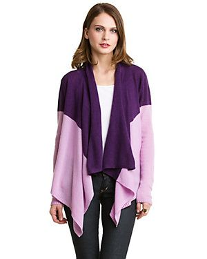 Magaschoni Lilac & Amethyst Colorblocked Cashmere Waterfall ...