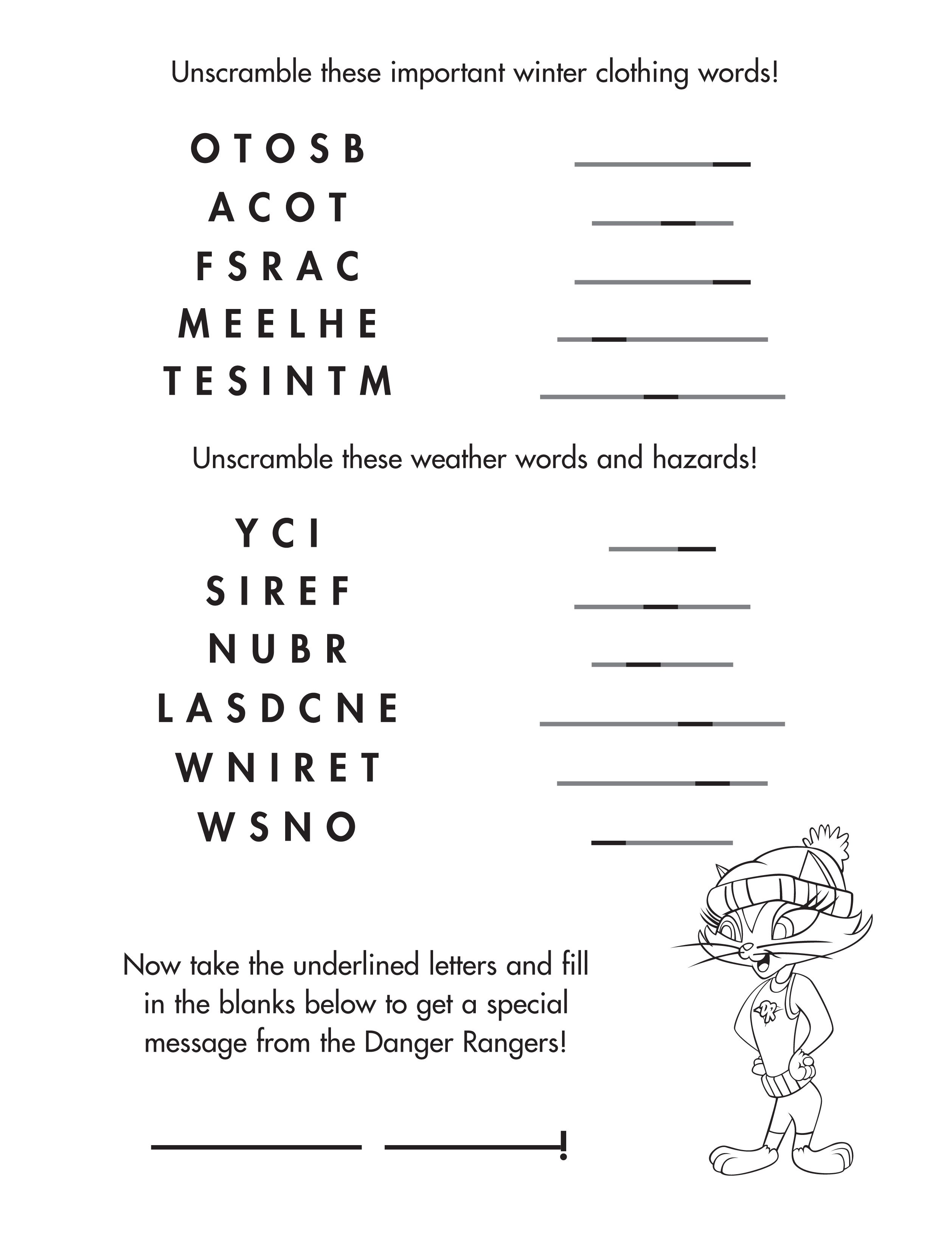 Help Kitty Unscramble These Winter Words Childsafety Freeprintable